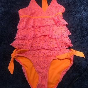 Girls two piece justice bathing suit.